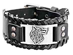 Black Leather Silver-Tone Over Brass Plate Men's Viking Wolf Bracelet