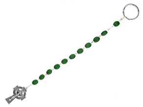 Green Ceramic Silver-tone Over Brass Rosary Keychain