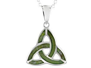 Connemara Marble Sterling Silver Trinity Knot Pendant W/ Chain
