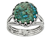 Womens Striking Solitaire Ring Green Eilat Stone Sterling Silver