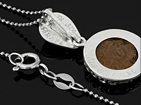 Women Coin Style Necklace Eilat Widow's Mite Coin Sterling Silver