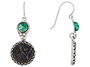 Womens Eilat Round With Widow's Mite Coin Dangle Earrings Sterling Silver