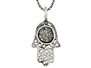 Womens Israel Hamsa Necklace Platinum Color Drusy Quartz Silver
