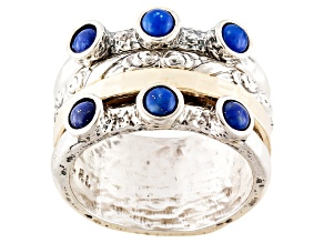 Blue Lapis Silver And 18k Gold Over Silver Spinner Band Ring