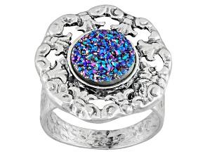 Blue Drusy Sterling Silver Ring