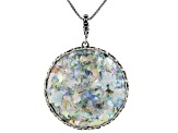 Multicolor Man Made Roman Glass Sterling Silver Enhancer With Chain