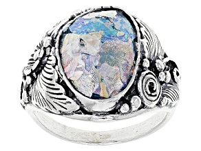 Multicolor Man Made Roman Glass Sterling Silver Ring