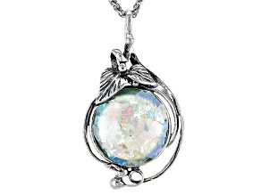 Multicolor Man Made Roman Glass Sterling Silver Pendant With Chain