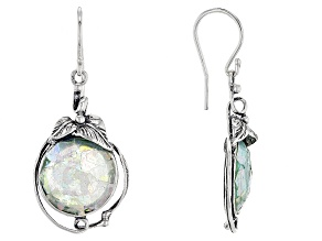 Multicolor Man Made Roman Glass Sterling Silver Earrings