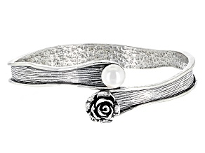 White Cultured Freshwater Pearl Sterling Silver Bracelet