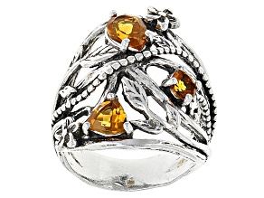 Yellow Citrine Sterling Silver Ring 1.21ctw