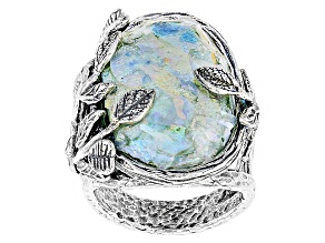 Multicolor Roman Glass Sterling Silver Ring