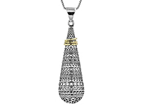 Silver And 18k Gold Over Silver Drop Pendant With Chain.