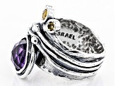 Purple Amethyst Sterling Silver Ring 2.72ctw
