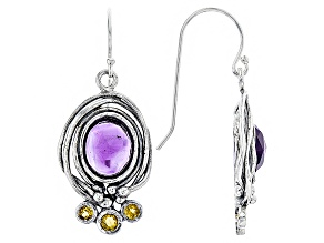 Purple Amethyst Sterling Silver Earrings 5.32ctw