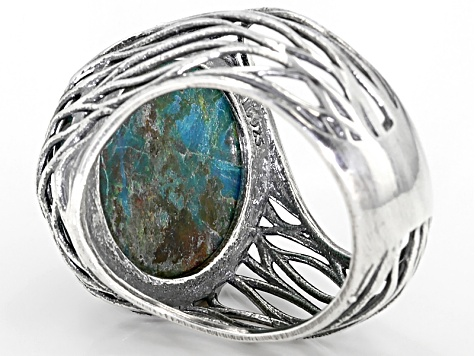 Blue Peacock Rock Sterling Silver Ring