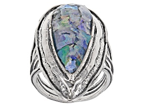 Multicolor Man Made Roman Glass Silver Ring