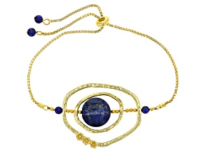 Blue Lapis 14k Gold Over Silver Adjustable Bolo Bracelet