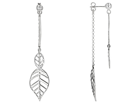 Sterling Silver Dangle Leaf Earrings