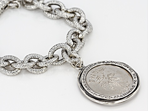 Nickel Clad Israeli Coin in Sterling Silver Charm And Bracelet