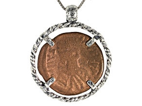 Bronze Coin in Silver Pendant With Chain