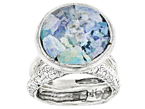 Multicolor Man Made Roman Glass Silver 2 Ring Set