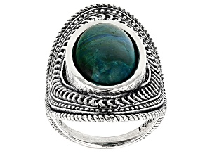 Green Eilat Solitaire Silver Ring