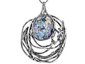 Multicolor Man Made Roman Glass Silver Pendant With Chain