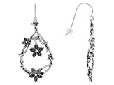 Silver Flower Dangle Earrings