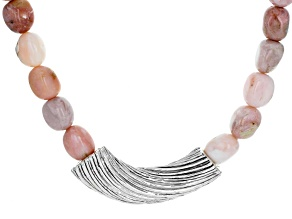 Pink Opal Electroform Sterling Silver Necklace