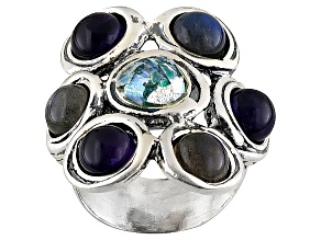 Blue Man Made Roman Glass Sterling Silver Ring.