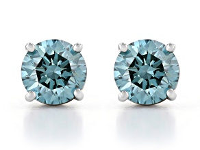 Blue Lab-Grown Diamond 14K White Gold Solitaire Stud Earrings 1.50ctw