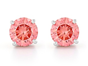 Pink Lab-Grown Diamond 14K White Gold Solitaire Stud Earrings 1.50ctw