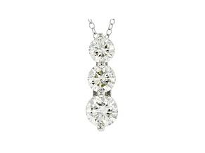 White Lab-Grown Diamond 14k White Gold 3-Stone Pendant With Chain 1.50ctw