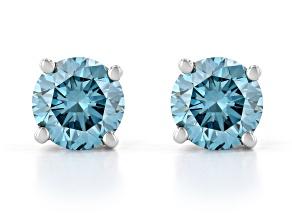 Blue Lab-Grown Diamond 14K White Gold Stud Earrings 0.75ctw