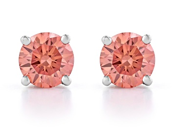 Picture of Pink Lab-Grown Diamond 14K White Gold Stud Earrings 0.75ctw