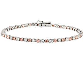 Pink and White Lab-Grown Diamond 14k White Gold Bracelet 5.00ctw