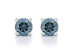 Blue Lab-Grown Diamond 14K White Gold Stud Earrings 0.50ctw