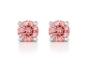 Pink Lab-Grown Diamond 14K White Gold Stud Earrings 0.50ctw