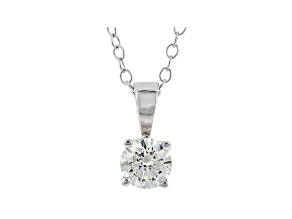 White Lab-Grown Diamond 14K White Gold Solitaire Pendant With Cable Chain 0.50ct