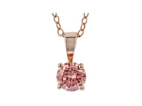 Pink Lab-Grown Diamond 14K Rose Gold Pendant With Cable Chain 0.50ct