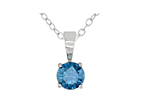 Blue Lab-Grown Diamond 14K White Gold Solitaire  Pendant 0.50ct