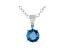 Blue Lab-Grown Diamond 14K White Gold Solitaire  Pendant 0.50ct