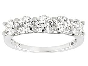 White Lab-Grown Diamond 14k White Gold 5-Stone Band Ring 1.50ctw