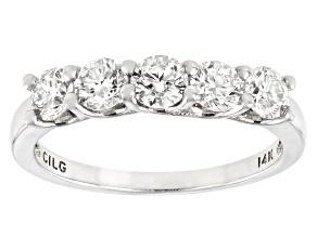 White Diamond Lab-Grown Diamond 14k White Gold 5-Stone Band Ring 1.00ctw