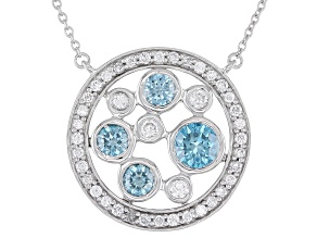 Blue And White Lab-Grown Diamond 14k White Gold Necklace 1.50ctw