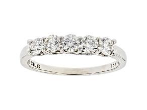 White Lab-Grown Diamond 14k White Gold 5-Stone Band Ring 0.75ctw