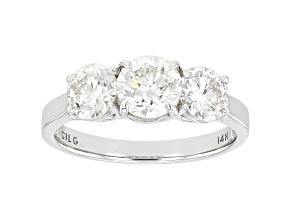 White Lab-Grown Diamond 14k White Gold 3-Stone Engagement Ring 2.00ctw