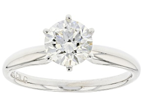 White Lab-Grown Diamond 14k White Gold Solitaire Engagement Ring 1.25ctw
