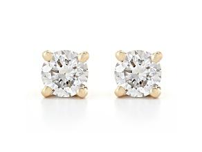 White Lab-Grown Diamond 14K Yellow Gold Stud Earrings 0.50ctw